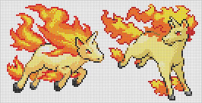 rapidash pikachu pixel art