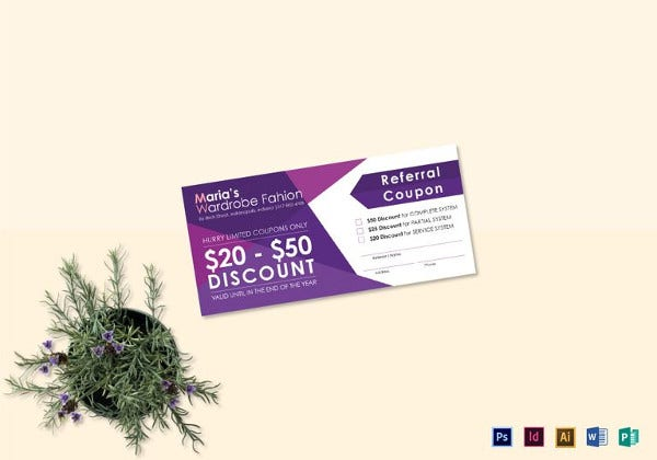 referral coupon photoshop template