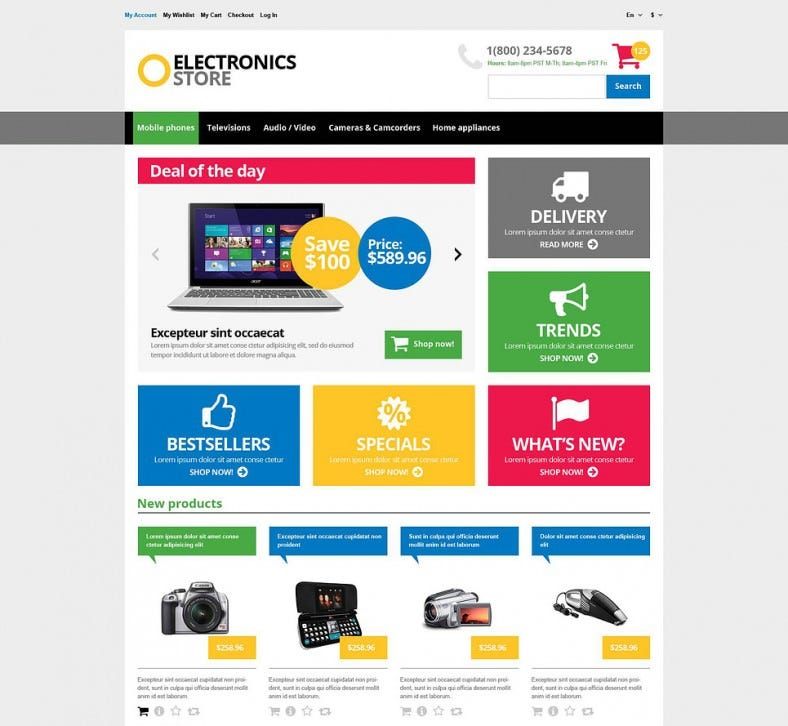 Responsive Online Electronics Store Magento Theme