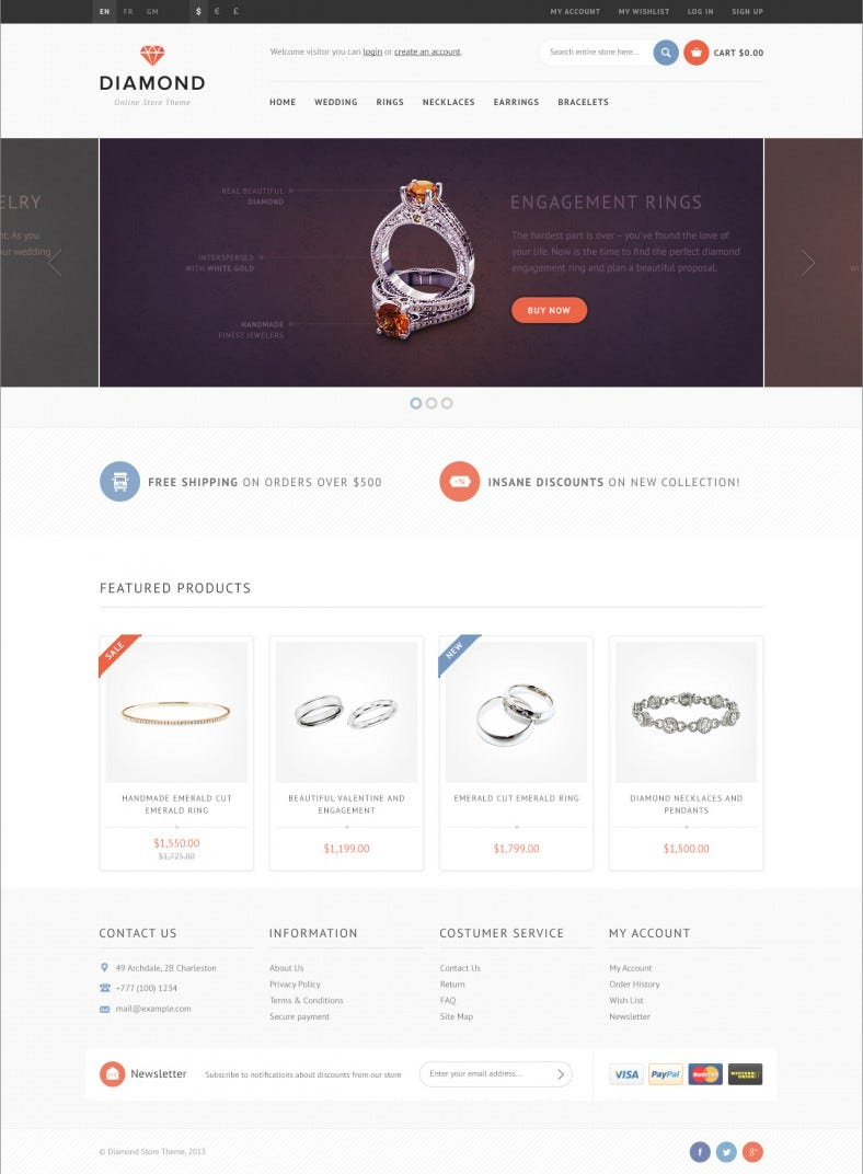 Responsive OpenCart Theme for Diamond Store