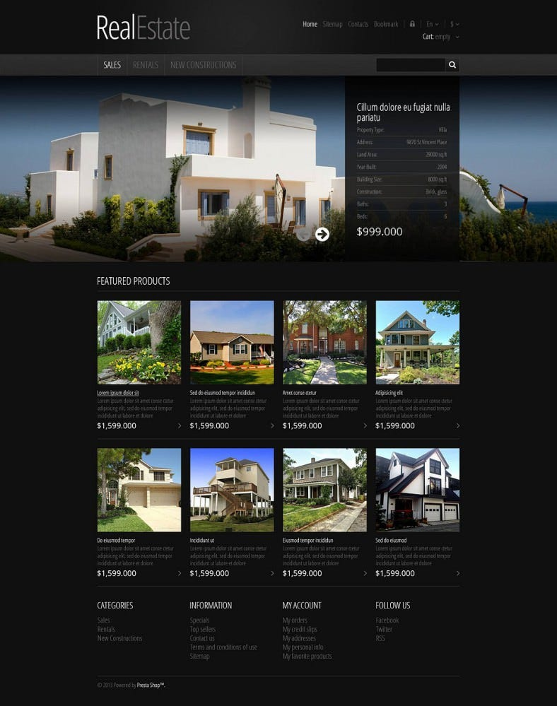 Responsive PrestaShop Theme for Real Estate Store