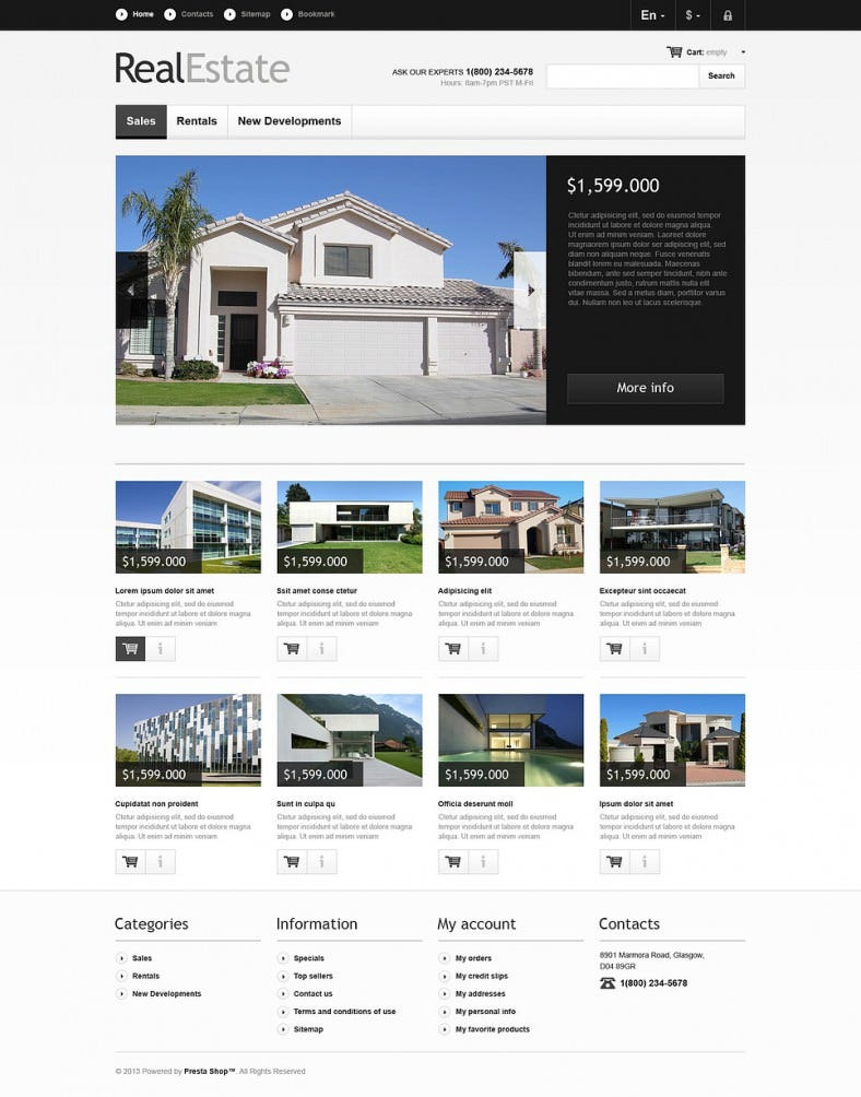 Responsive Real Estate Market PrestaShop Template