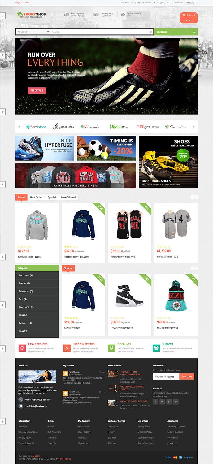 responsive sportshop opencart theme