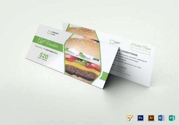 restaurant food gift voucher illustrator template