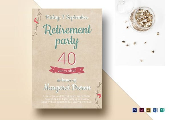 retirement party flyer template in indesign