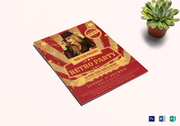 retro party flyer template in publisher
