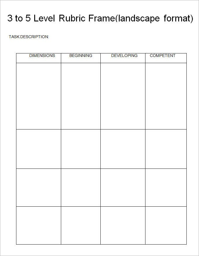 Rubric Template Free Download