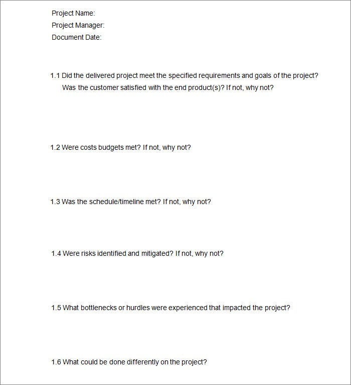 Project Checklist Template 8 Free Word PDF Documents Download – Sample Project Checklist Template
