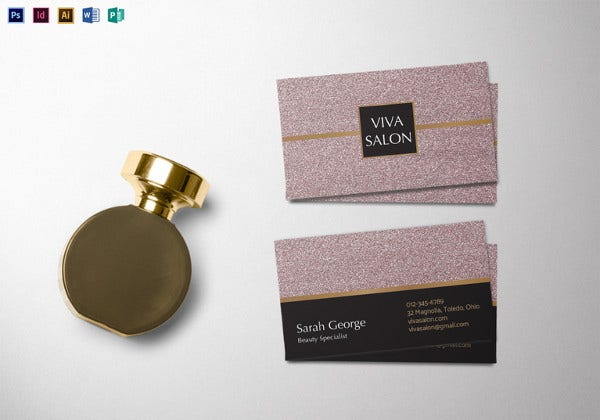 salon business card photoshop template