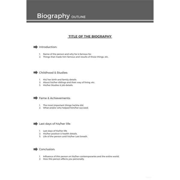 Autobiography Outline Templates  Samples  Doc Pdf  Free  Sample Biography Outline Template