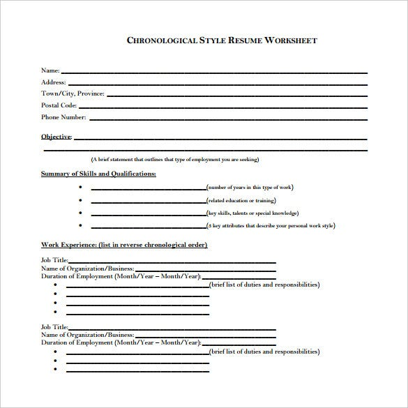 sample-chronological-resume-worksheet
