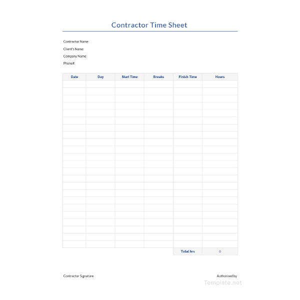 sample contractor time sheet template