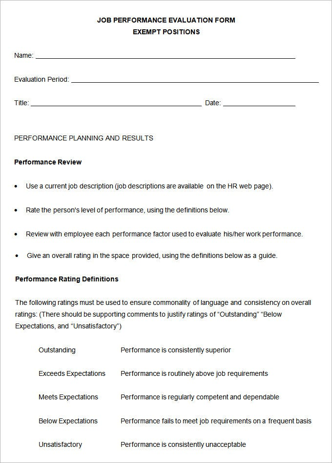 Performance Review Templates  Free Sample Example Format
