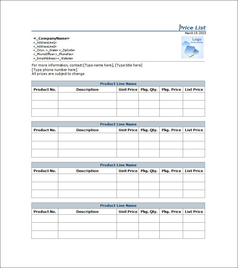 Sample Price List Template  Price List Template Word