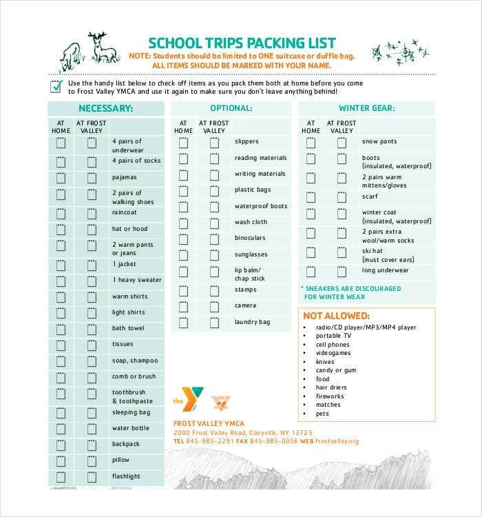 school trips packing list 1
