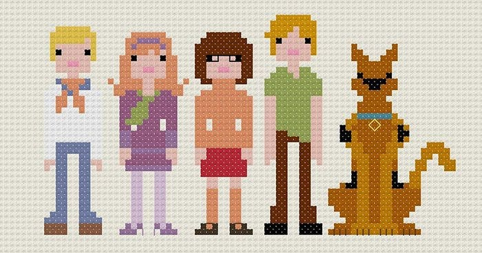 scooby doo minecraft pixel art template1