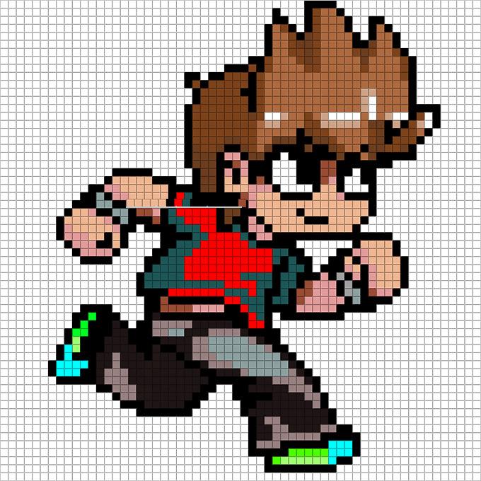 Scott Pilgrim Pixel Art Template Free