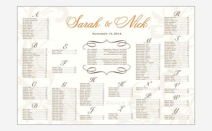 Scrolls and Swirls Seating Chart for Weddings