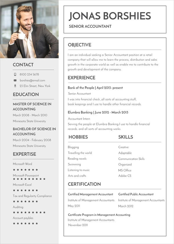 senior accountant banking resume template