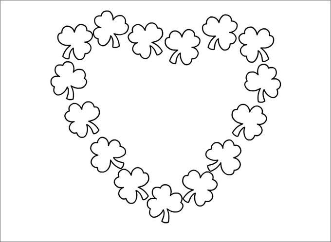 shamrock heart free coloring page template