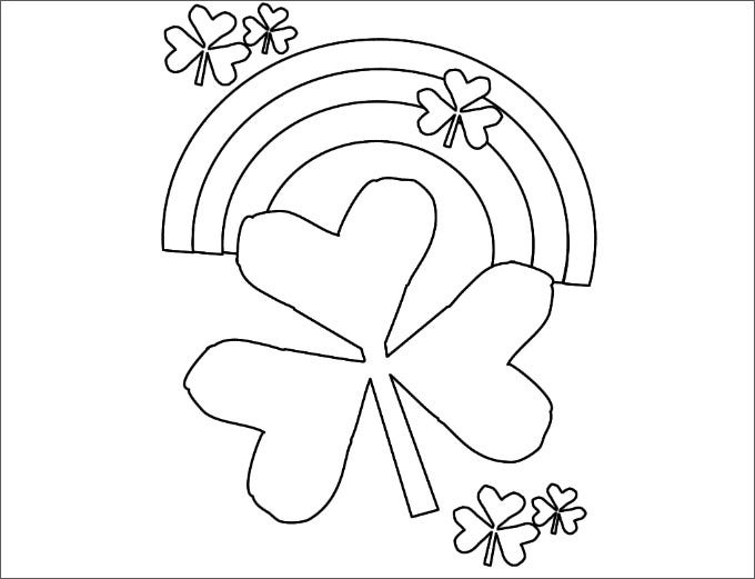 shamrocks and a rainbow coloring template free