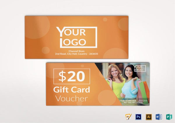 shopping voucher gift template in illustrator