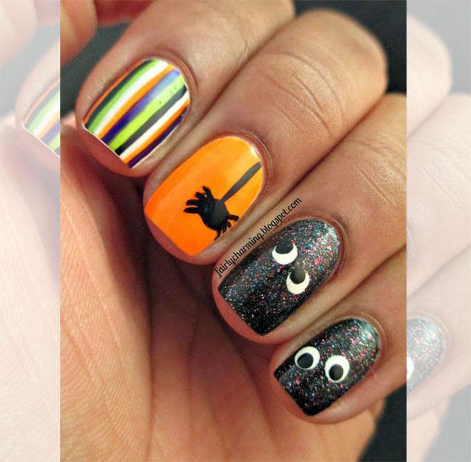 simple halloween nail art design