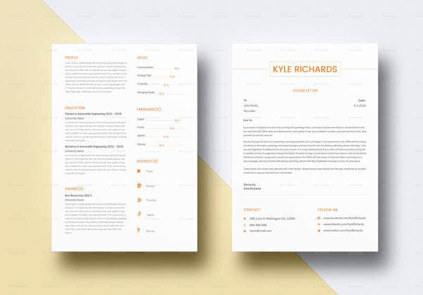 simple monochromatic automobile resume template