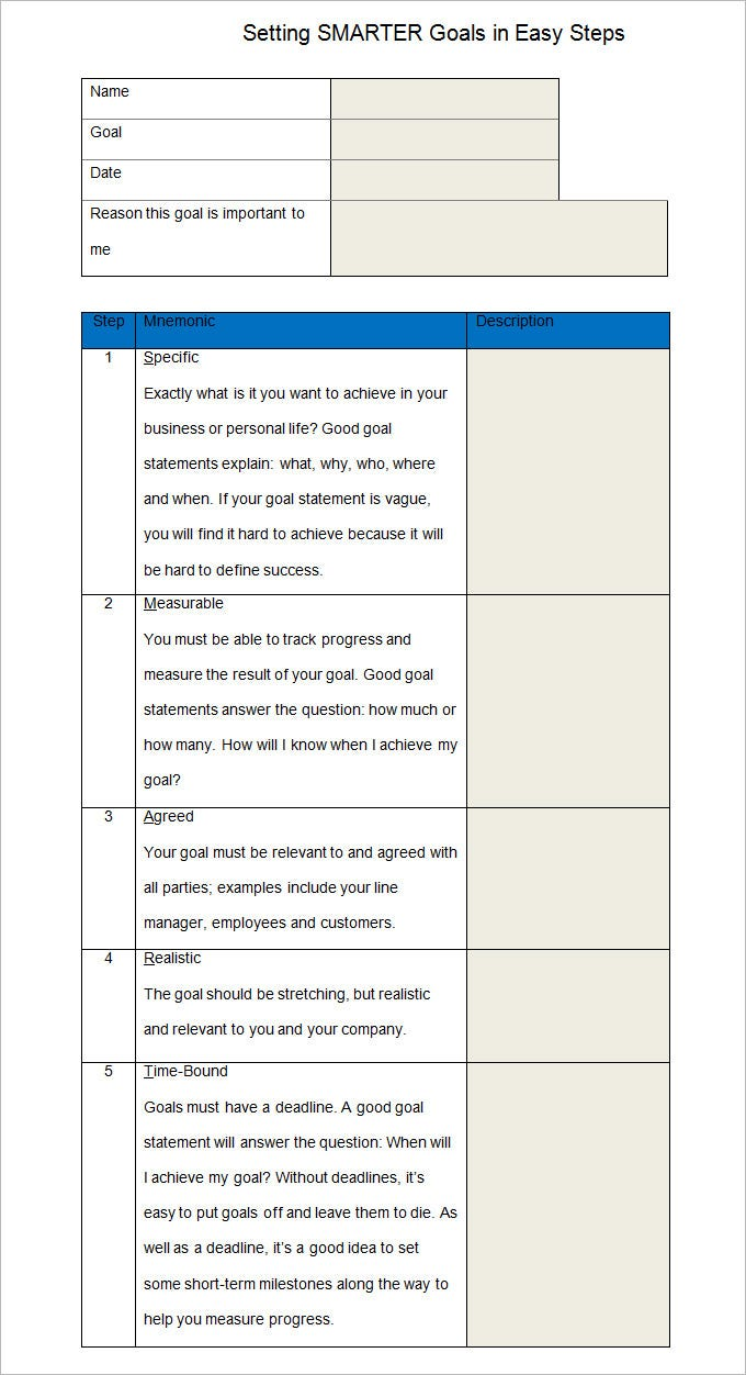 Smart Goal Template - 4+ Free PDF, Word Documents Download | Free ...