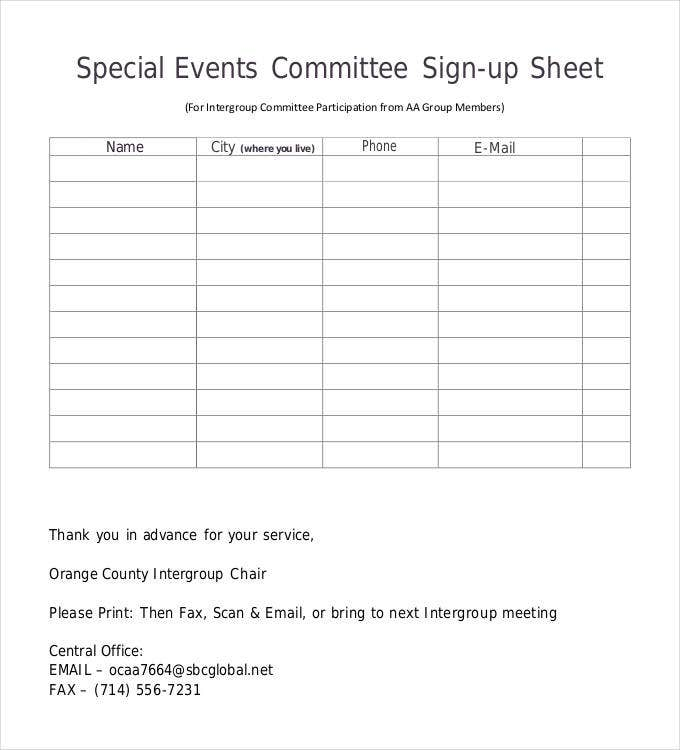 Sign Up Sheets - 58+ Free Word, Excel, PDF Documents Download | Free ...