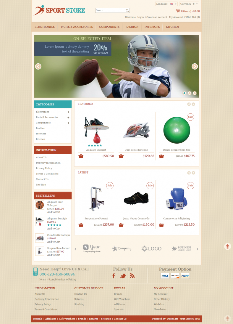 10 best sports opencart website templates themes free for Opencart bookstore template