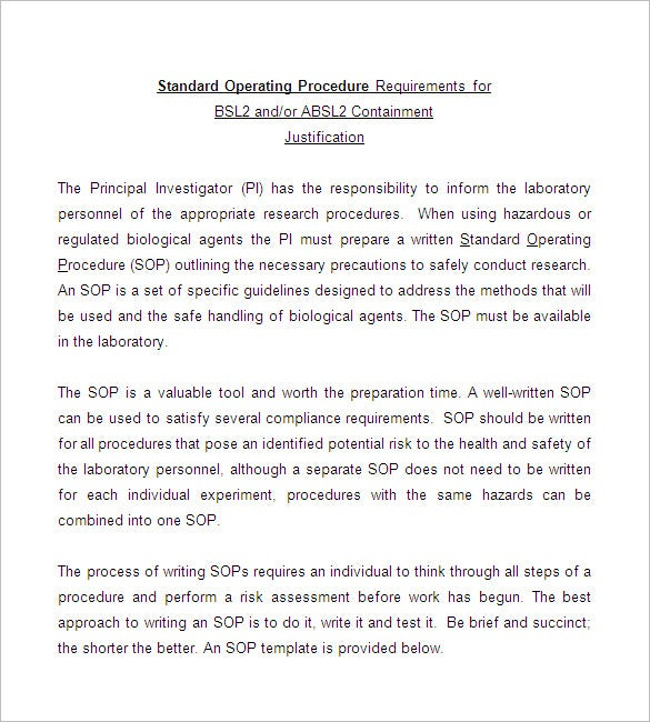 SOP Template Standard Operating Procedure Template – Template for Sop