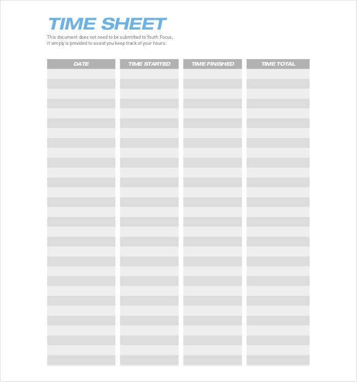 60  sample timesheet templates
