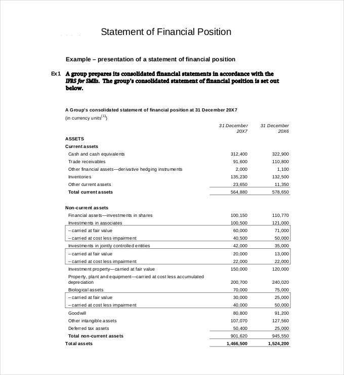 statement of financial position download