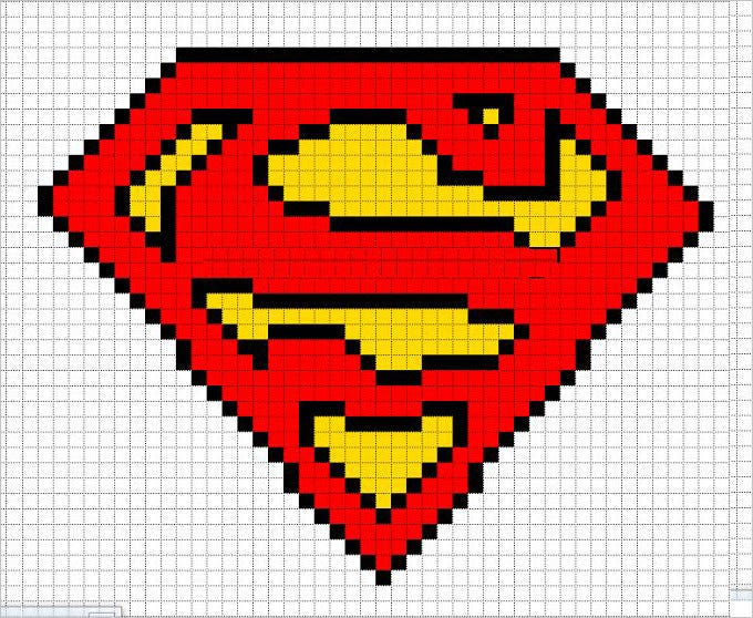 superman logo free pixel art template