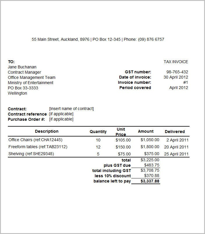 template invoice for goods published oct 2011