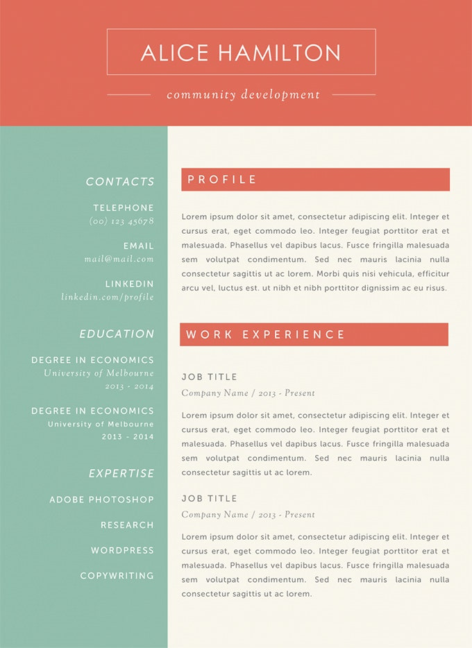 THE ALICE RESUME  Free Resume Word Templates