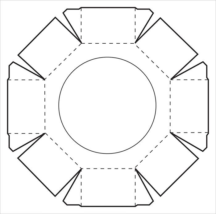 tall hexagon box template
