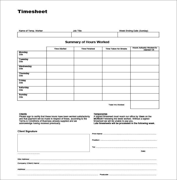 39 Timesheet Templates Free Sample Example Format – Free Timesheet Forms