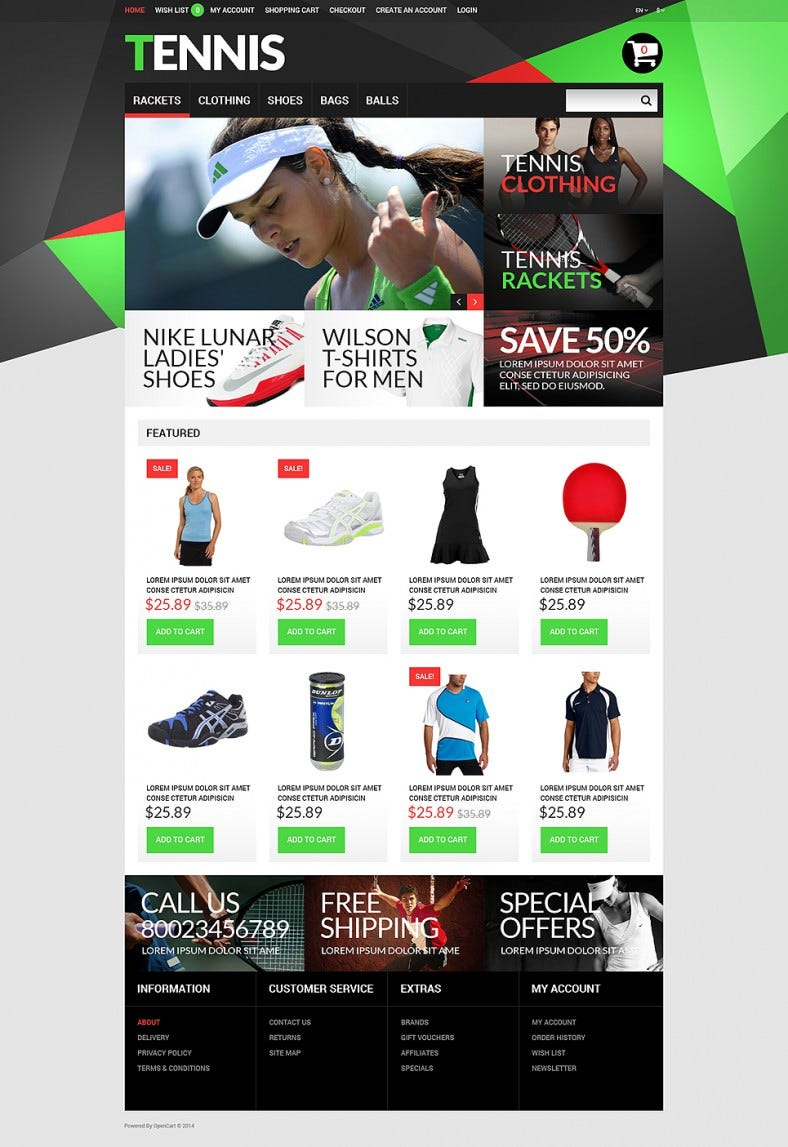 Tennis Accessories OpenCart Template
