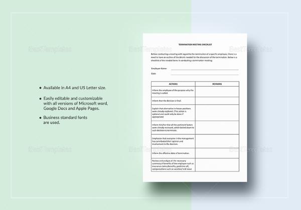 termination meeting checklist template