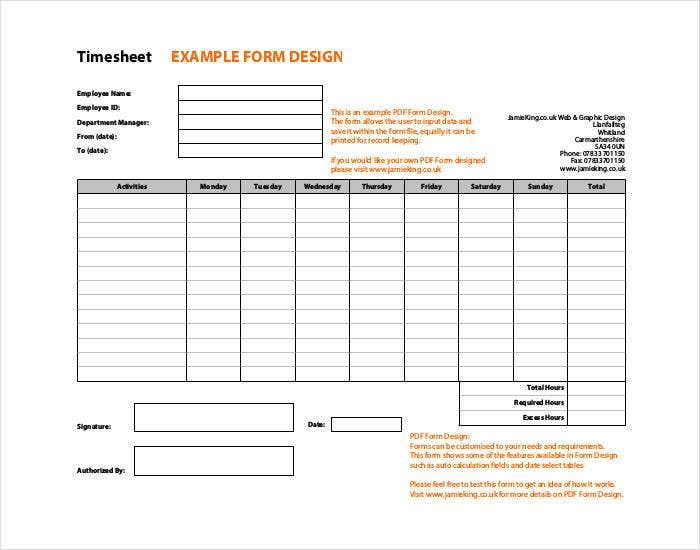timesheet example form of design