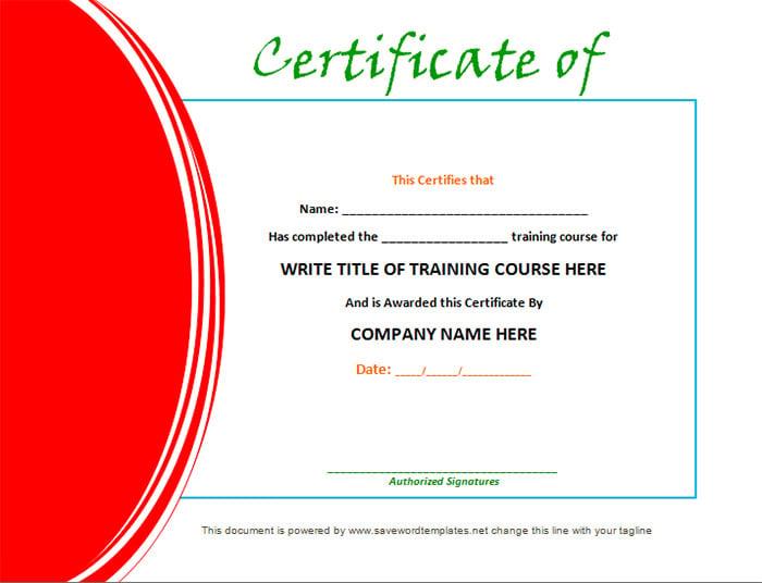 Training Certificates Format Vaydileforic