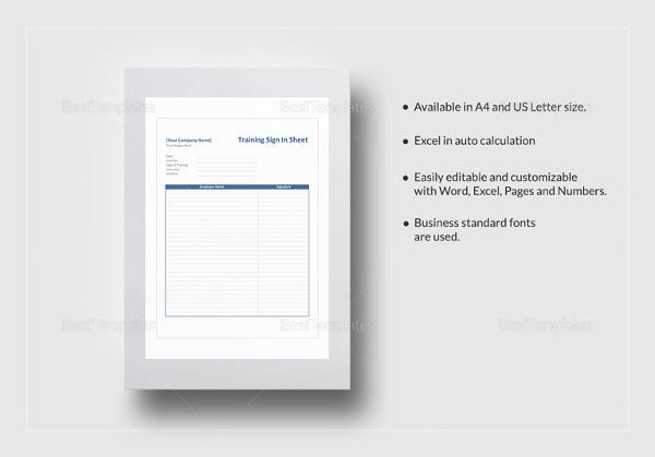 training sign in sheet template1