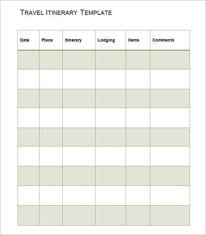 Sample Travel Itinerary Template