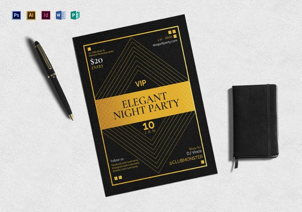 vip night party flyer template in psd
