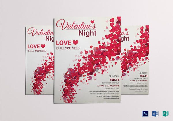 valentines night party flyer template1