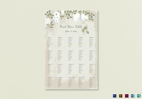 vintage wedding seating chart psd template