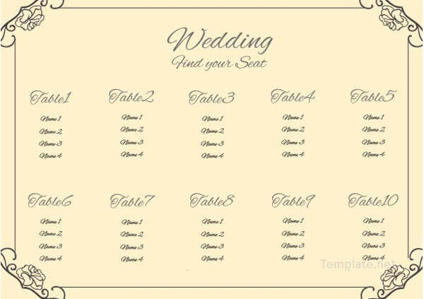vintage wedding seating chart template