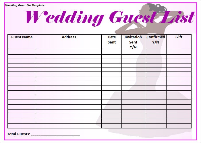 wedding guest list template 6 free sample example format free premium templates. Black Bedroom Furniture Sets. Home Design Ideas